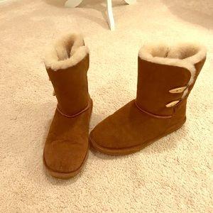 BearPaw boots•EUC•faux fur•suede•ankle fastener•8